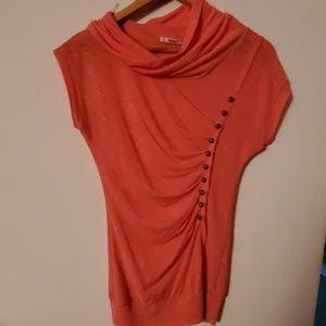 Papaya Orange Cowl Neck Sleeveless Blouse - M